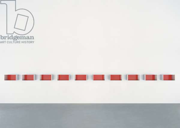 Untitled (74-20 Bernstein), 1974 (stainless steel with red enamel paint)