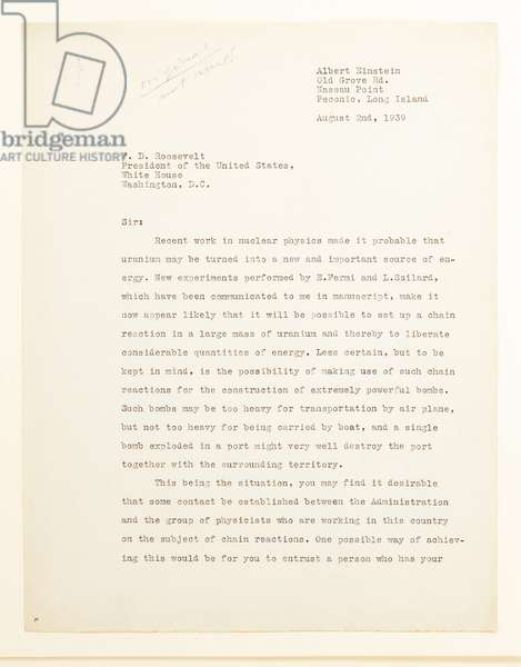 Letter to President Franklin Delano Roosevelt, Peconic, Long Island, 2nd August 1939 (print & pen and ink on paper) (see also 488326)