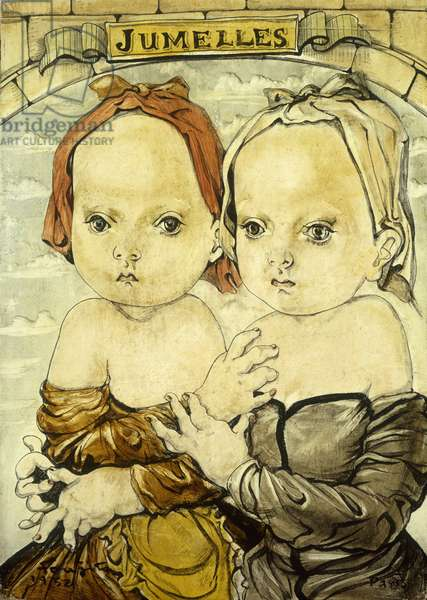Twins; Jumelles, 1952 (oil on canvas laid on masonite)
