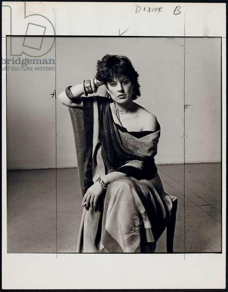 Dianne B. in Issey Miyake silks, 1982 (gelatin silver print)