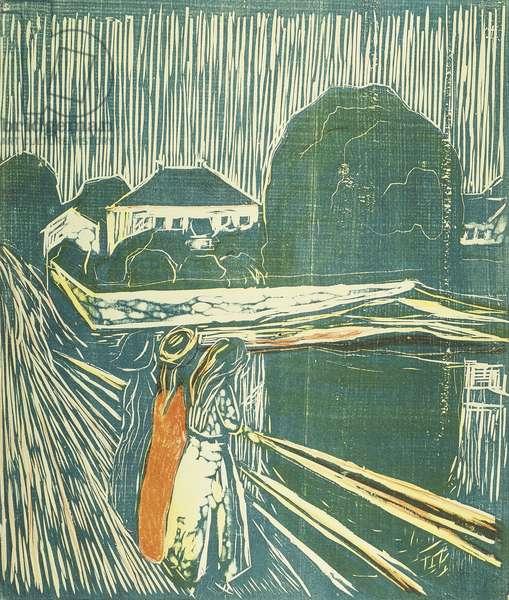Girls on the Bridge; Madchen auf der Brucke, 1920 (woodcut and lithograph)