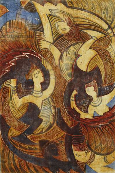 Fire-Dance, c. 1931 (linocut printed in colours on thin Japan)