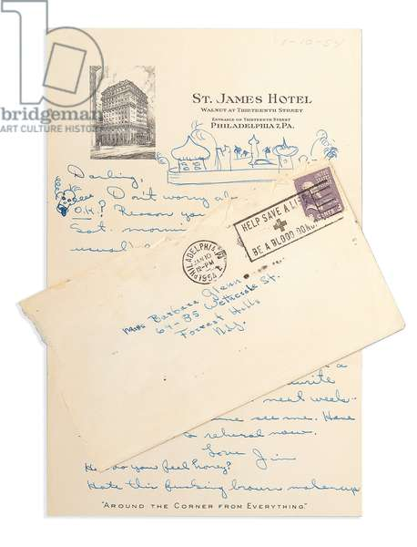 Hand-written letter from James Dean to girlfriend Barbara Glenn, 1st October 1954 (pen on paper, with printed letterhead, postage stamp & postmarks)