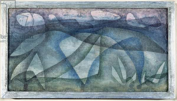Rainy Day, 1931 (no 150) (oil and pen & brush and coloured ink on gessoed burlap)