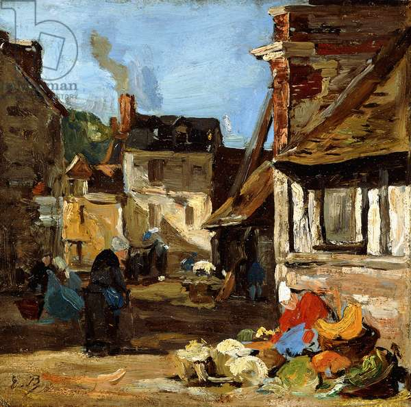 Honfleur, Saint-Catherine market place, 1867-1870 (oil on board laid down on cradled panel)