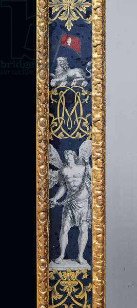 William and Mary pier mirror and companion side table, c.1706-07 (giltwood & verre eglomise)