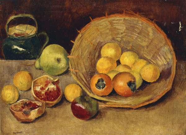 Still Life with Fruit and a Basket, (oil on canvas)