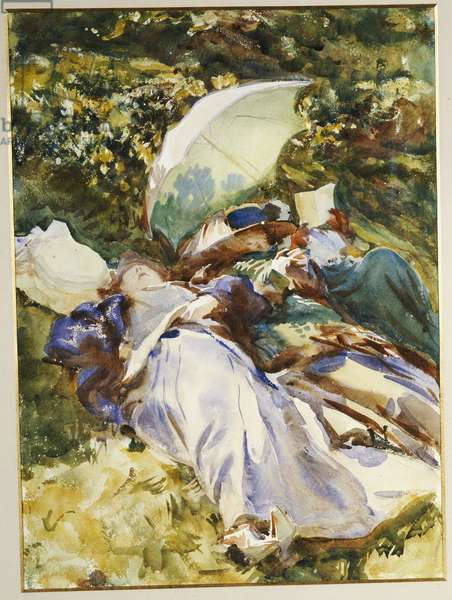 The Green Parasol, c.1910 (pencil, w/c & bodycolour on paper)