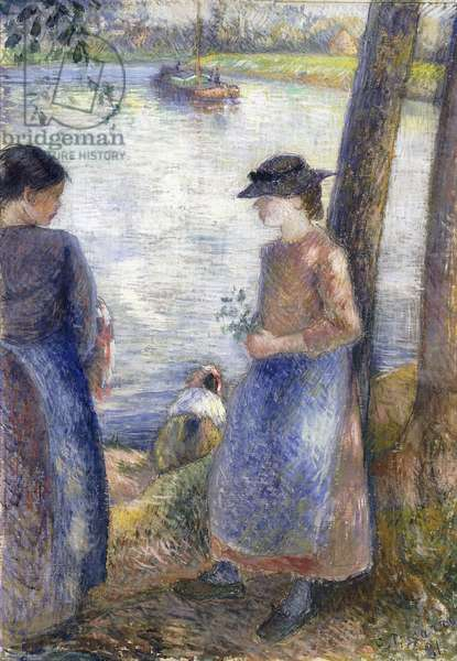 By the Water, 1881 (gouache and pencil on silk mounted on cardboard)
