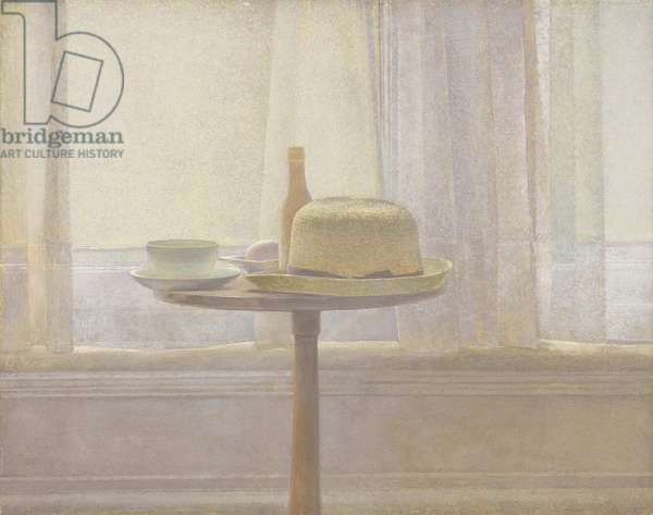 Still life of objects on a pedestal table, 1988 (tempera on board)