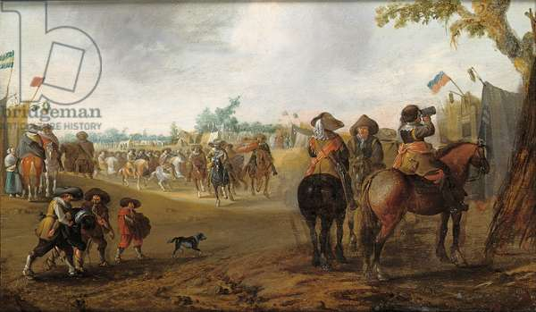 A military encampment with cavalrymen (oil on panel)