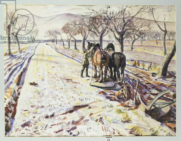 January, aka Snow and Plough, 1940 (w/c, bodycolour & pencil on paper)