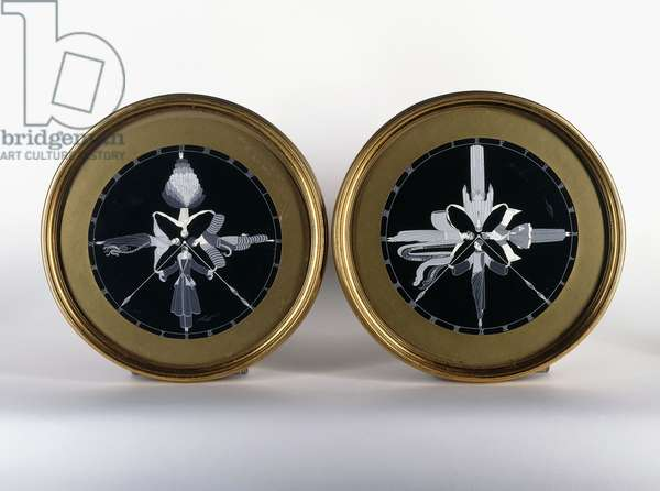 Two clock designs, 'The Elegant Day',  (two gouache drawings)