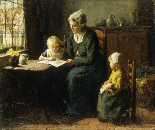 The Afternoon Lesson, (oil on canvas)
