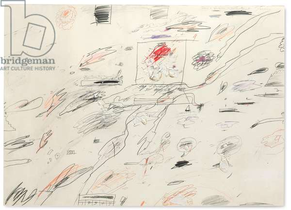 Untitled, 1960 (oil, graphite, coloured pencil, wax crayon and ballpoint pen on paper)