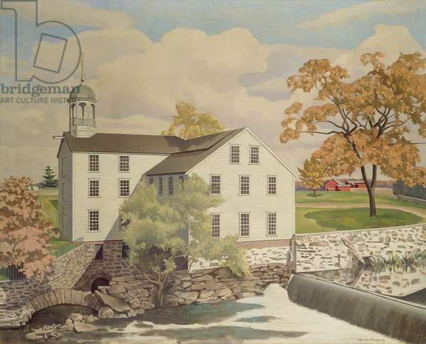 Old Slater Mill, Pawtucket, Rhode Island, 1945 (oil on canvas)
