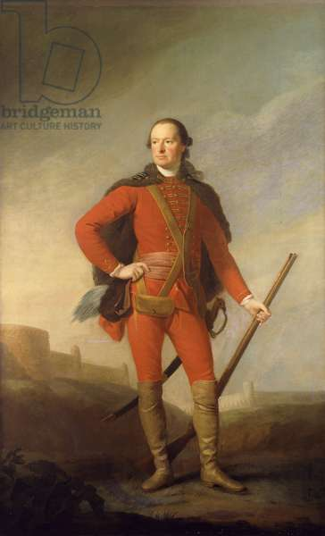 Portrait of Charles, 5th Earl of Elgin and 9th Earl of Kincardine, standing full length in a Scarlet Costume and Fur-Trimmed Cape Holding a Musket in a Romantic Landscape with a Castle Beyond,  (oil on canvas)