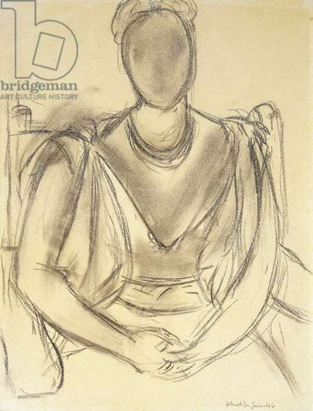 Sitting Woman; Femme Assise, 1946 (charcoal on paper)
