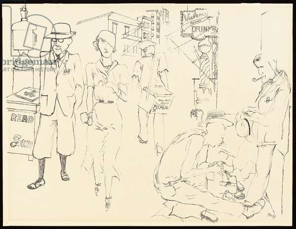 Street Scene, New York, 1932 (pen and India ink on paper)