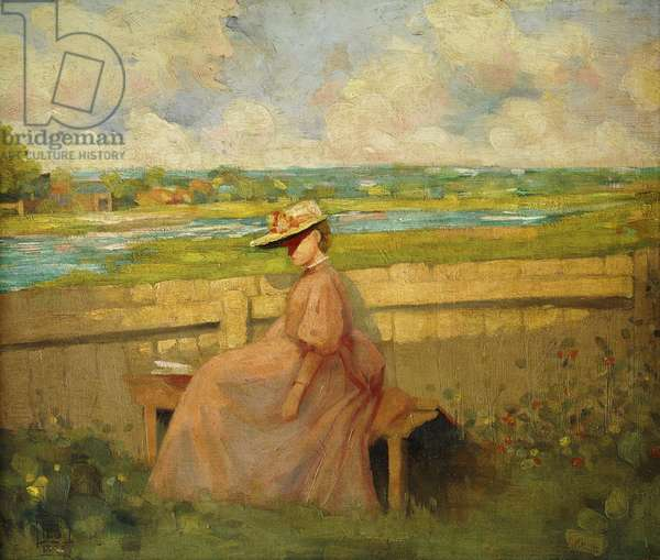 Young Girl Seated on a Garden Bench, 1896 (oil on canvas)