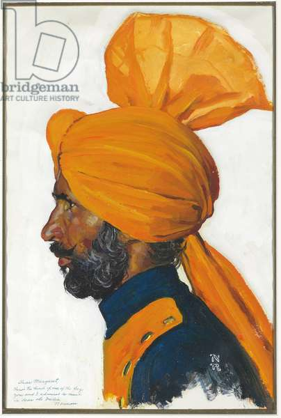 Portrait of an Indian Man, 1960s (oil on paper)