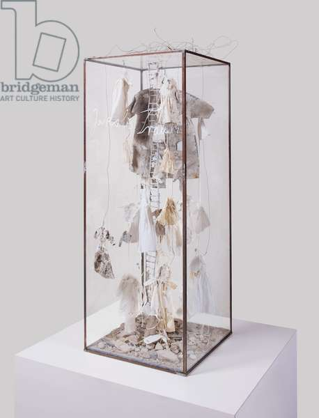 Jacob's Dream, 1991 (lead ladder, dresses, wire, broken china and glass, string, cloth wood and plaster in glass vitrine)