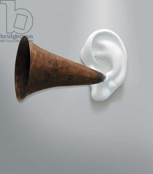 Beethoven's Trumpet (With Ear) Opus #133, 2007 (resin, fibreglass, bronze, aluminium & electronics)