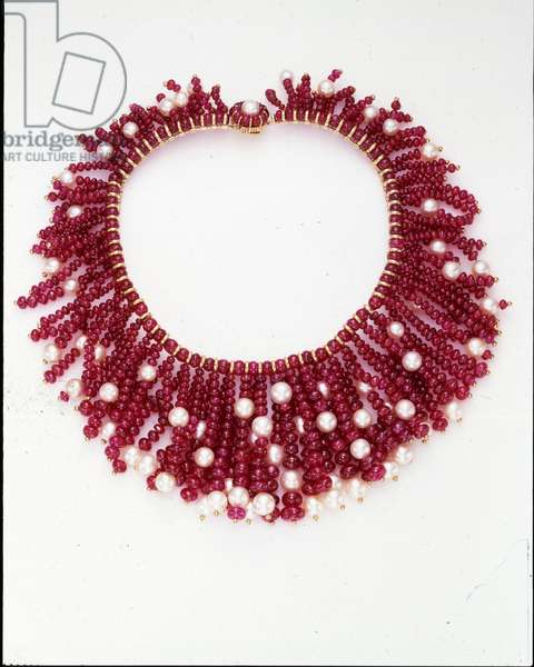 Necklace, c.1969 (rubies, cultured pearls & gold)
