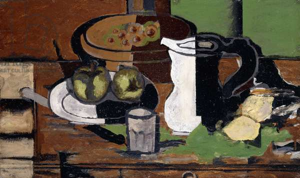 Grapes, Apples and Jug, 1924 (oil on panel)