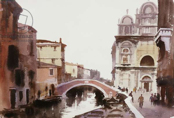 Bridge near San Zanipolo, Venice, (watercolour and bodycolour)