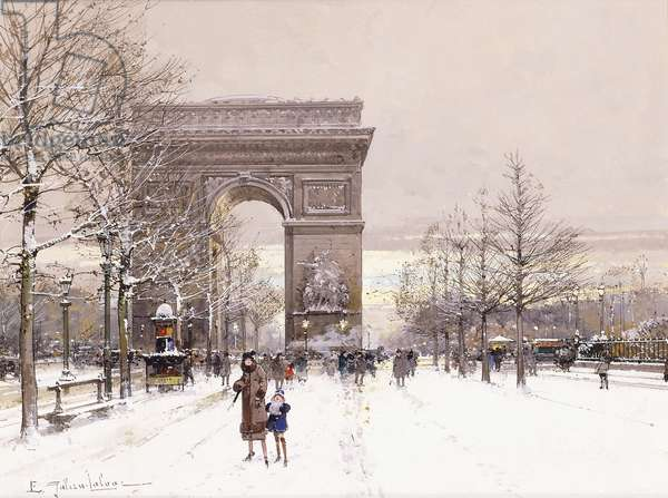 L'Arc de Triomphe,  (gouache over traces of pencil on paper)
