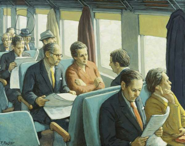 Commuters, (oil on canvas)