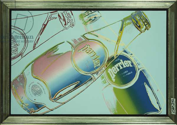 Untitled (Perrier Bottles) 1983 (synthetic polymer silkscreened on canvas)