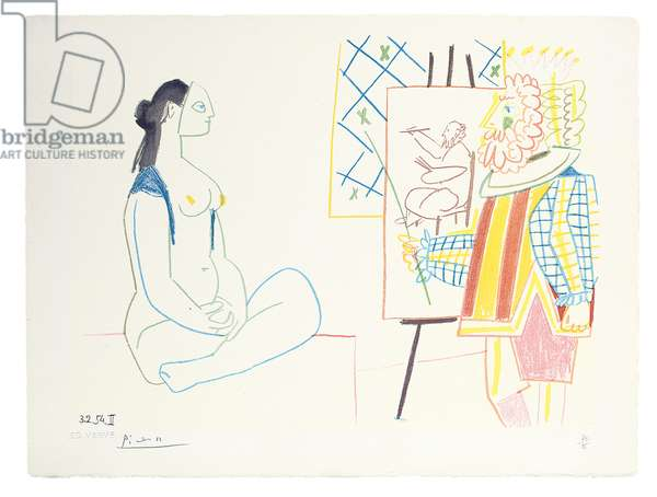 Painter and his Model, from Verve Nos. 29-30, 1954 (colour litho)