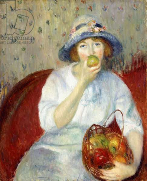 Girl with Green Apple,  (oil on canvas)