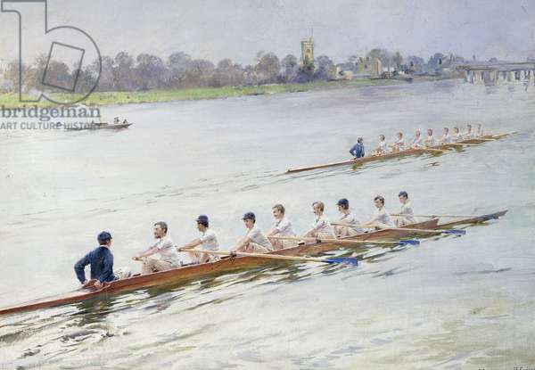 Eights Racing at Putney, (oil on canvas)