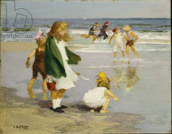 Play in the Surf (oil on panel)