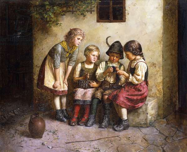 The Knitting Lesson, (oil on canvas)
