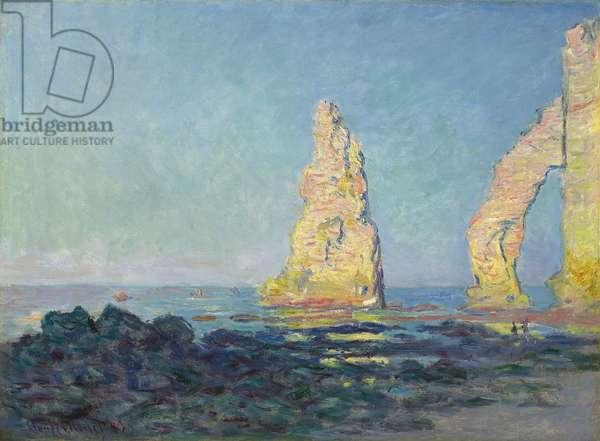 The Needle of Etretat, Low Tide; Aiguille d'Etretat, maree basse, 1883 (oil on canvas)