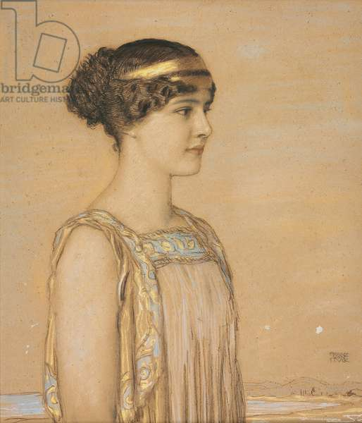 Portrait of Mary in Greek Costume, 1910 (pencil and chalk on cardboard)