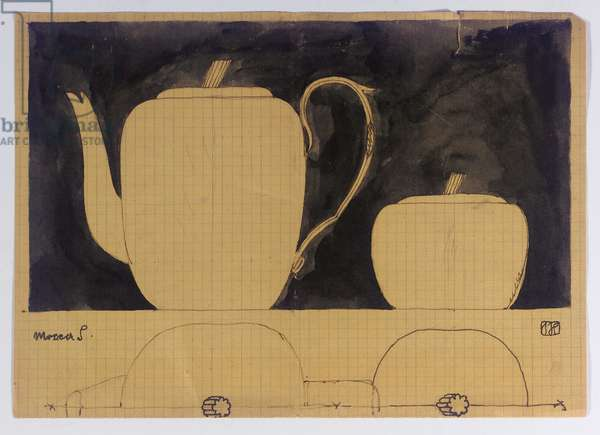 Design for a coffee service - Mocca (black ink on paper)