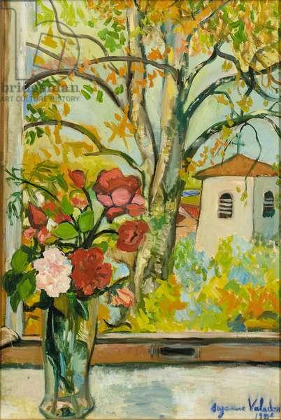 Bouquet of flowers in front of a window in St. Bernard, 1926 (oil on canvas)