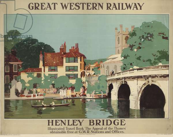 Henley Bridge, poster advertising the Great Western Railway, 1930 (colour litho)