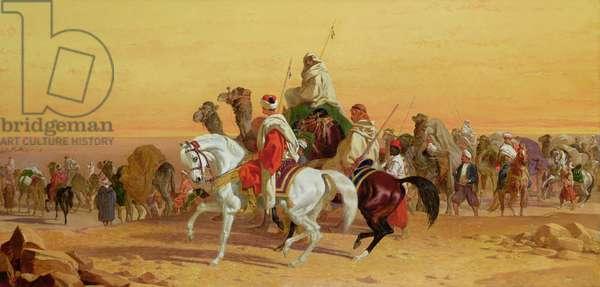 An Arab Caravan (oil on canvas)