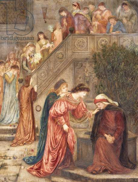 Certain ladies of her companionship gathered themselves with Beatrice when she kept alone in her weeping, and as they passed in and out, I would hear them speak concerning her.' (Dante's Vita Nuova),  (watercolour and bodycolour over traces of pencil on paper)