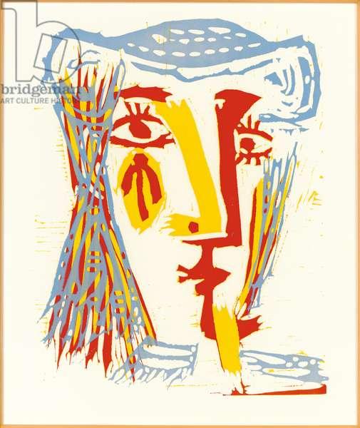 Femme au chapeau de paille bleue, 1962 (linocut)