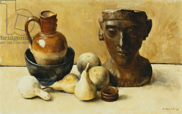 Akenaten and Gourds, 1973 (oil on board)