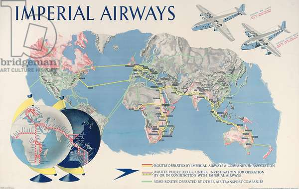 An advertising poster for Imperial Airways  (colour lithograph)