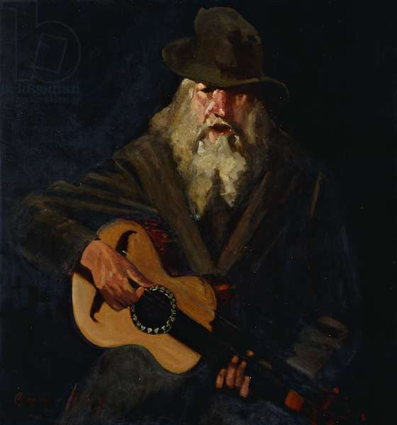 The Hobo Musician, (oil on canvas)