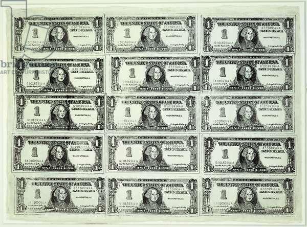 Fifteen One Dollar Bills, 1962 (woodblock & black ink on paper)